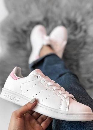 Крутые кроссовки adidas stan smith с розовым задником (весна-л...