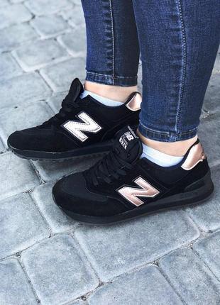 Шикарные женские кроссовки в черном цвете new balance 574  (ве...