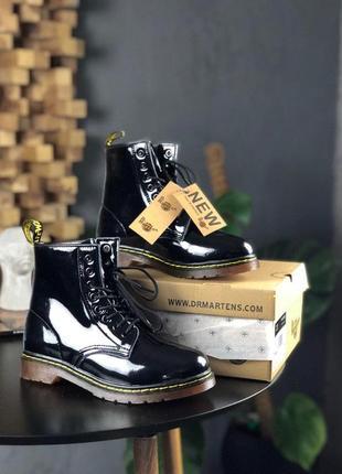 Ботинки dr martens с глянцевой кожей и мехом (осень-зима-весна)😍