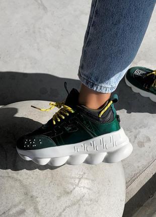 Дизайнерские кроссовки в зеленом эксклюзивном цвете (весна-лет...