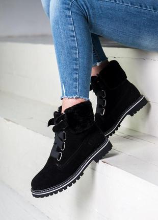 Стильные зимние ботинки ugg в черном цвете с мехом (осень-зима...