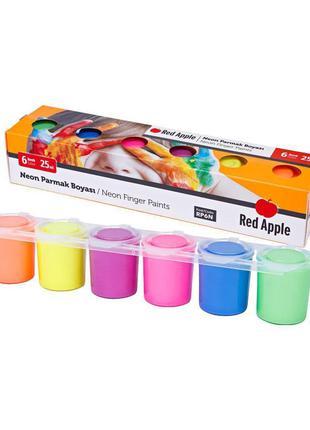 """Краски пальчиковые """"Неон"""", 6 цветов Red Apple Разноцветный"""