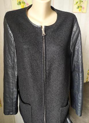 Пальто с кожаными рукавами new look