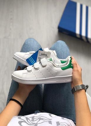 Кроссовки adidas stan smith на липучках в белом цвете (весна-л...