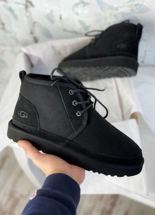 Мужские ботинки ugg в черном цвете с мехом овчины (осень-зима-...