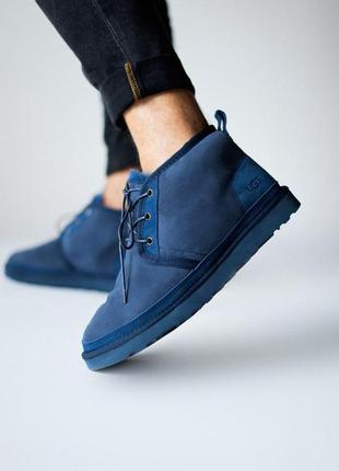 Мужские ботинки ugg в темно синем цвете (осень-зима-весна)😍