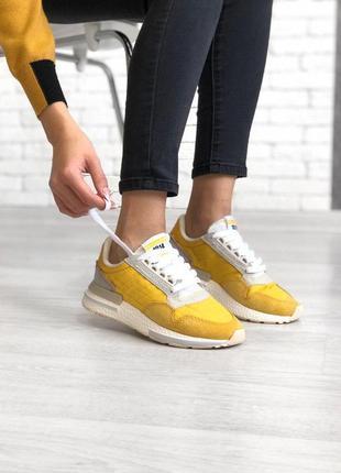 Удобные спортивные кроссовки adidas в желтом цвете(весна-лето-...