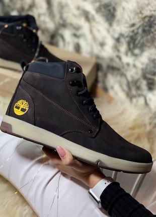 Теплые мужские ботинки timberland из нубука (осень-зима-весна)😍