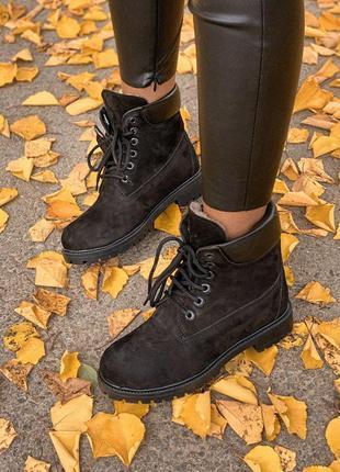 Стильные и теплые ботинки с мехом тимберленд в черном цвете (о...