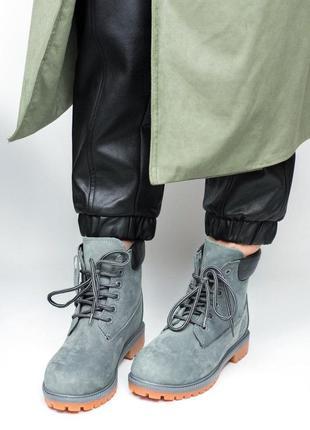 Шикарные ботинки с мехом timberland в сером цвете (осень-зима-...