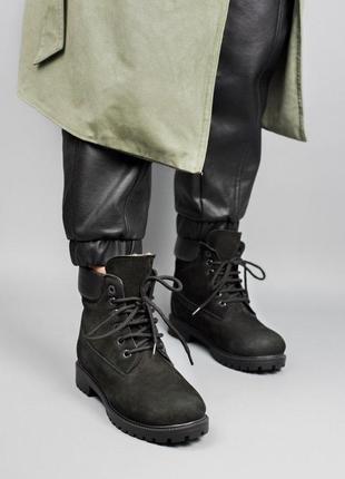 Зимние ботинки с мехом тимберленд в черном цвете (осень-зима-в...