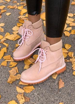 Ботинки тимберленд в нежно-розовом цвете с мехом (осень-зима-в...