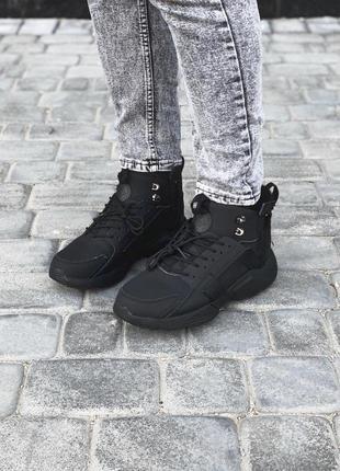 Крутые мужские кроссовки nike huarache в черном цвете (осень-з...