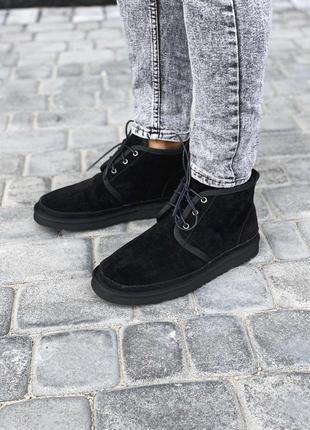 Стильные мужские ботинки ugg neumel black с теплыми мехом овчи...