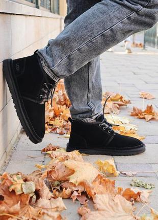 Теплые мужские ботинки ugg в черном цвете (осень-зима-весна)😍
