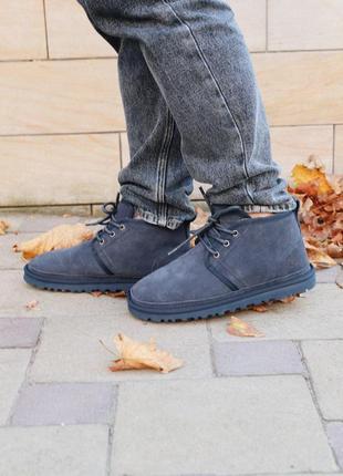Красивые и теплые мужские ботинки ugg neumel в синем цвете (ос...