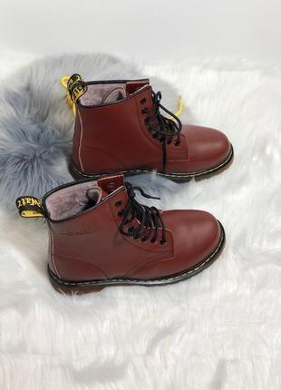 Шикарные ботинки мартинс в бордовом цвете с мехом (осень-зима-...