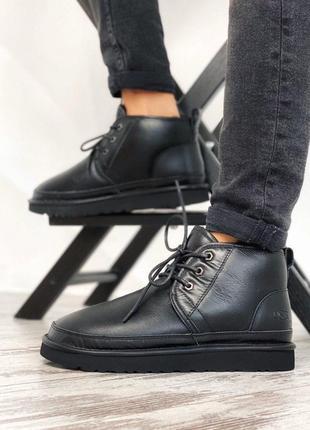 Удобные мужские ботинки ugg в черном цвете из кожи (осень-зима...