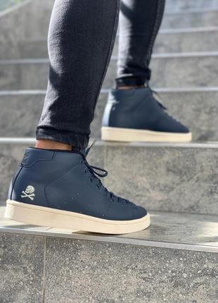 Красивые мужские кроссовки adidas в темно-синем цвете (весна-л...
