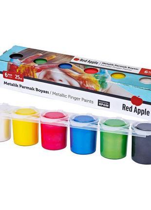 """Краски пальчиковые """"Металлик"""", 6 цветов Red Apple Разноцветный"""