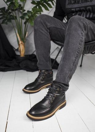 Удобные мужские ботинки ugg в черном цвете (осень-зима-весна)😍