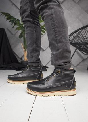 Теплые зимние мужские ботинки ugg в черном цвете (осень-зима-в...