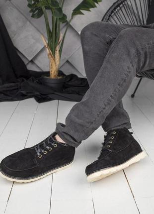 Теплые мужские зимние ботинки ugg в черном цвете (осень-зима-в...