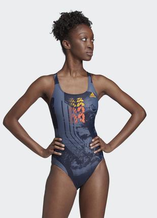 Женский цельный тренировочный купальник с надписью adidas infi...
