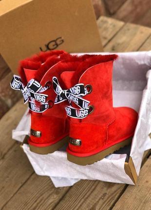 Ярко красные женские ugg с бантом и теплым мехом (осень-зима-в...