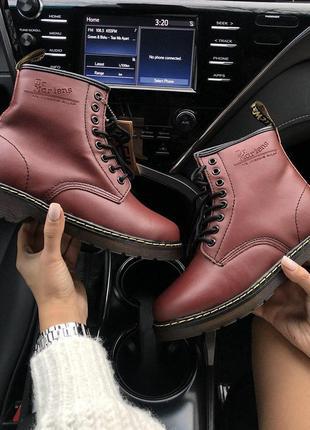Шикарные женские ботинки dr.martens в бордовом цвете с мехом (...
