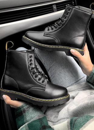 Ботинки мартинс в черном цвете с мехом внутри (осень-зима-весна)😍