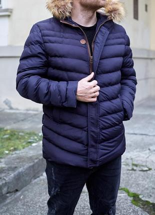 Шикарная зимняя мужская курточка с мехом овчины /курточка/парк...