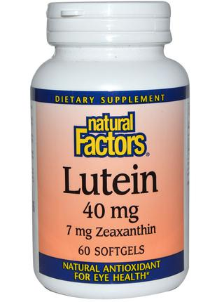 Лютеин 40 мг, Lutein, Natural Factors, 60 гелевых капсул