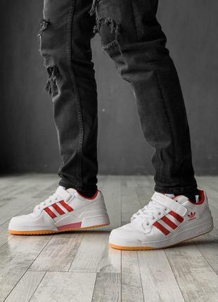 Шикарные мужские кожаные кроссовки adidas в белом цвете (весна...