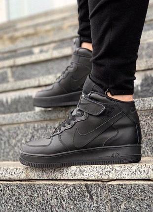 Стильные кожаные кроссовки с мехом в черном цвете nike air for...