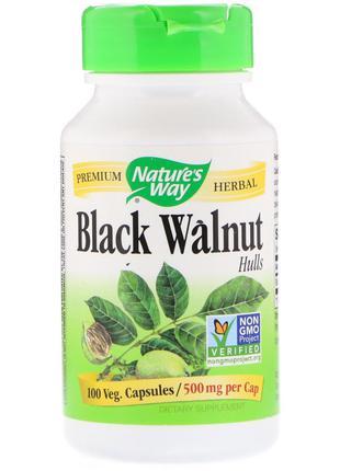 Черный Орех, Black Walnut, Hulls, Nature's Way, 500 мг, 100 Ка...