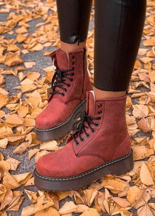 Стильные меховые ботинки dr. martens jadon bordo /осень/зима/в...