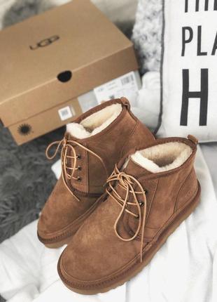 Теплые и стильные меховые ботинки ugg neumel brown /осень/зима...