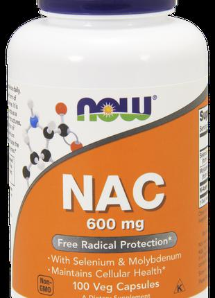 N-ацетилцистеин NOW Foods NAC 600 mg 100 вег. капсул