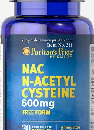 Ацетилцистеин Puritan's Pride NAC N-Acetyl Cysteine 600 mg Fre...