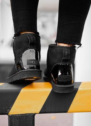 Новинка! стильные сапоги ugg classic mini black metallic с нат...