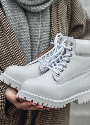 Стильные термо ботинки timberland в белом цвете /осень/зима/ве...