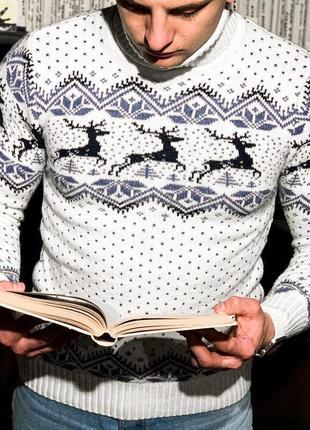 Теплый мужской свитер с оленями из шерсти /осень/зима/весна😍