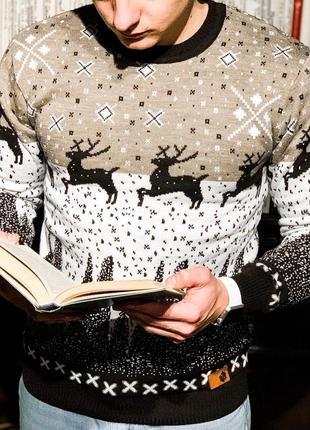 Теплый мужской шерстяной свитер в кофейном цвете /осень/зима/в...