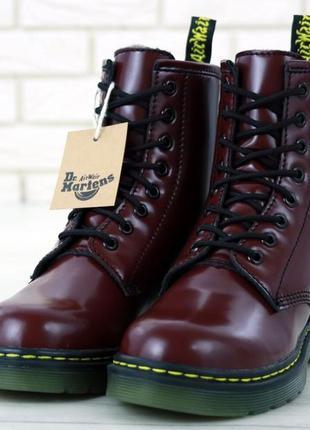 Dr martens меховые женские ботинки в бордовом цвете /осень/зим...