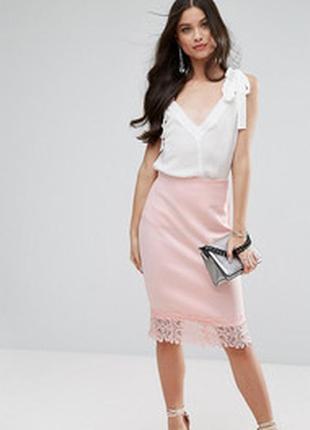Плотная розовая длинная миди юбка карандаш стрейч неопрен с кр...