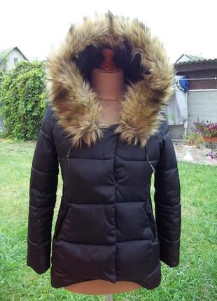 44 р теплая куртка парка  с капюшоном на синтепоне женская