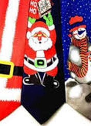 Галстук новогодний со снеговиком и музыкой новогодней!