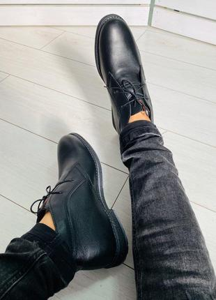 Lux обувь! классические зимние натуральные кожаные мужские бот...