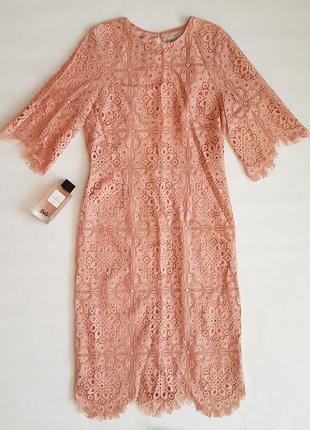 Шикарное кружевное вечернее платье миди h&m с открытой спинкой.